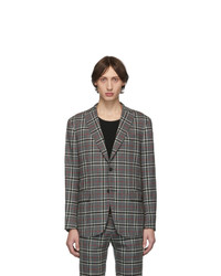 Eidos Grey Wool Windowpane Plaid Suit