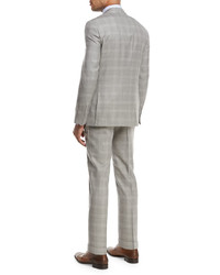 Isaia Plaid Super 130s Wool Two Piece Suit Light Gray