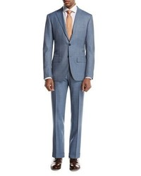 Kiton Plaid Super 160s Wool Two Piece Suit Light Gray