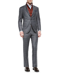 Brunello Cucinelli Plaid Two Piece Wool Suit Gray