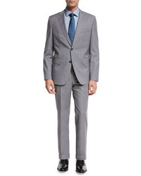 BOSS Plaid Wool Two Piece Suit Light Gray