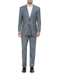 Armani Collezioni Tonal Plaid Two Piece Suit Gray