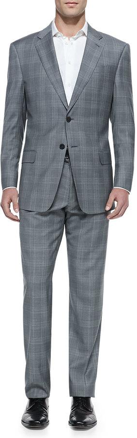 3b198bcf $2,295, Armani Collezioni Tonal Plaid Two Piece Suit Gray
