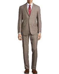 Ike Behar Two Piece Plaid Suit Gray Regular Length