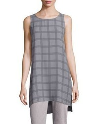 Grey Plaid Wool Tunic