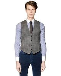 Houndstooth Wool Blend Vest