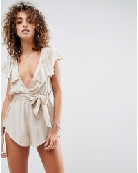 Asos Beach Romper With Frill Shoulder And Tie Waist