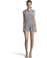 Vince Grey Silk Static Print Button Front Romper