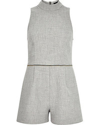River Island Grey Zip Waist High Neck Romper