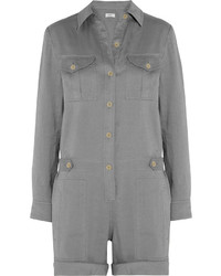 Vince Linen Blend Playsuit Gray