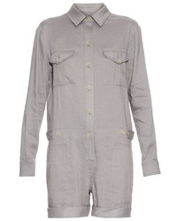 Vince Long Sleeved Linen Blend Playsuit