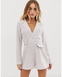 Missguided Tux Playsuit In Grey