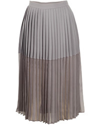 Grey Pleated Chiffon Midi Skirt