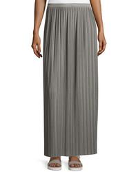 Theory Osnyo Drapey Tee Pleated Maxi Skirt New Gray Melange