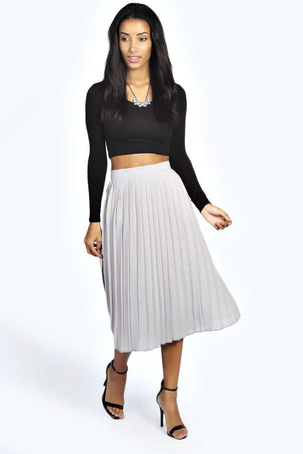 Boohoo Casey Pleated Midi Skirt | Where to buy & how to wear