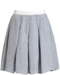 Etienne deroeux grey linen pleated alice skirt medium 65077