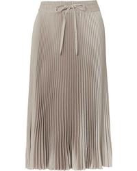 REDVALENTINO Pleated Satin Midi Skirt