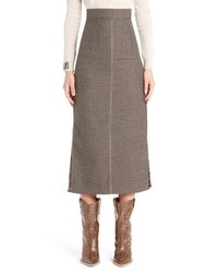 Fendi Silk Logo Godet Stretch Wool Skirt