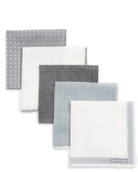 The Tie Bar Basic Grey 5 Pack Pocket Squares