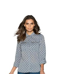 M co ladies polka dot spot chambray roll up sleeves zip embellished shirt blouse blue 12 medium 118675