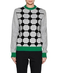 Marni Dot Print Wool Cashmere Sweater With Contrast Trim Gray