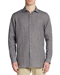 Saks Fifth Avenue Regular Fit Patterned Linen Sportshirt