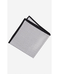 Express Solid And Dot Four Way Silk Pocket Square White