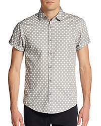 Trim fit polka dot roll tab sleeve sportshirt medium 295828