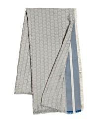 Giorgio Armani Silk Cotton Blend Logo Scarf