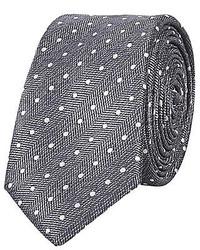 River Island Grey Herringbone Polka Dot Print Tie