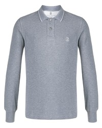 Brunello Cucinelli Embroidered Long Sleeved Polo Shirt