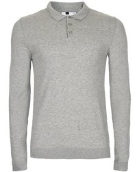 Topman Gray Marl Muscle Fit Polo Neck Sweater
