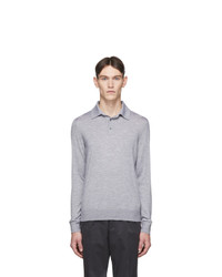 Ermenegildo Zegna Grey Cashmere Long Sleeve Polo