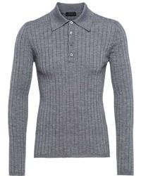 Prada Long Sleeve Cashmere Polo Shirt