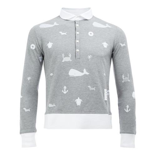 0d96ab4163f Thom Browne Long Sleeve Polo Shirt, $741 | farfetch.com | Lookastic.com