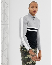 ASOS DESIGN Organic Long Sleeve Polo Shirt With Body And Sleeve Colour Block In Black