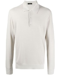 Z Zegna Striped Knitted Polo Shirt