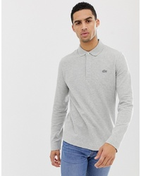 Lacoste Tonal Logo Long Sleeve Polo In Grey