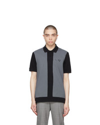 Comme des Garcons Homme Deux Black And Grey Fred Perry Edition Colorblocked Polo