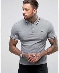 Fred Perry Slim Fit Twin Tipped Polo Shirt Gray