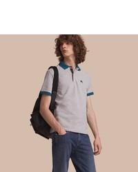 Burberry Two Tone Check Placket Cotton Piqu Polo Shirt