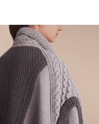 Burberry Cable Knit Cotton Blend Panelled Poncho