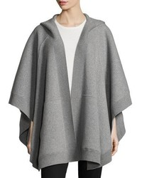 Burberry Carla Hooded Open Front Poncho Gray