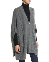 Neiman Marcus Cashmere Collection Cashmere Zip Front Cable Knit Poncho
