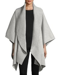 Burberry Cashmere Wool Ribbed Poncho Medium Gray