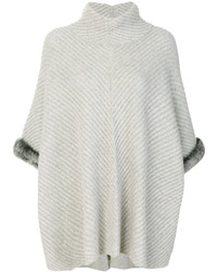 Fur trim ribbed poncho medium 6717463
