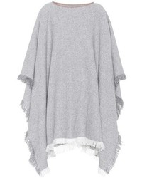 Agnona Leather Trimmed Cashmere Poncho
