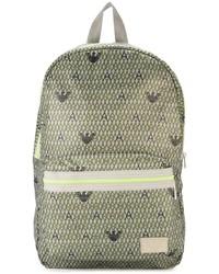 Armani Junior Monogram Print Backpack