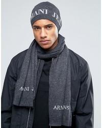 Armani Jeans Logo Gift Set Beanie Scarf