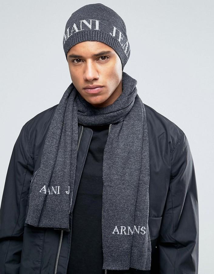 40e5d82f723 ... Grey Print Beanies Armani Jeans Armani Jeans Logo Gift Set Beanie    Scarf